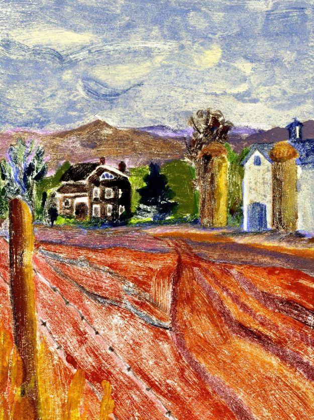"""A View of the Farm,"" Carol Crump Bryner, monoprint, 1985"