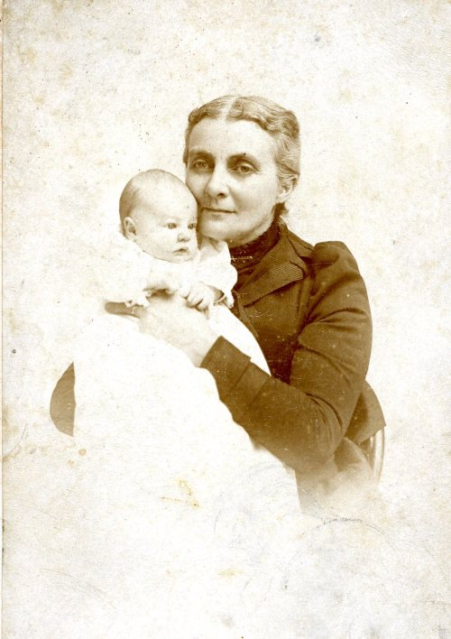 Lydia Jane Hart Hall with her first grandson, William Cannon, 1897
