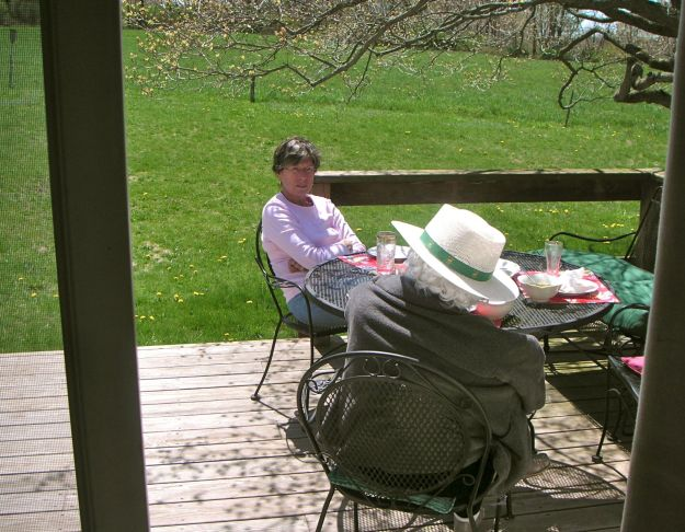Cousin Sue and Janet Crump sitting on the deck, spring, 2006