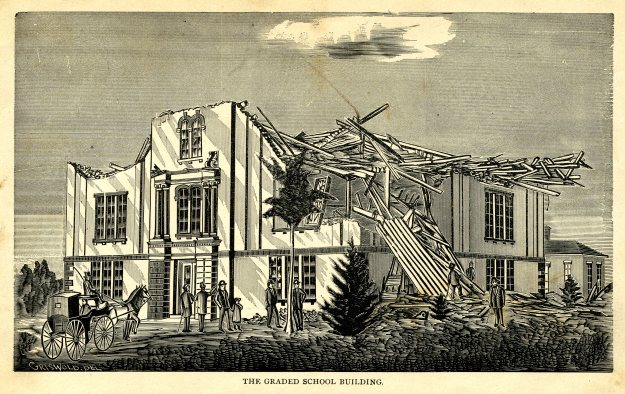"""The Graded School House,"" illustration from ""History of the Wallingford Disaster"""