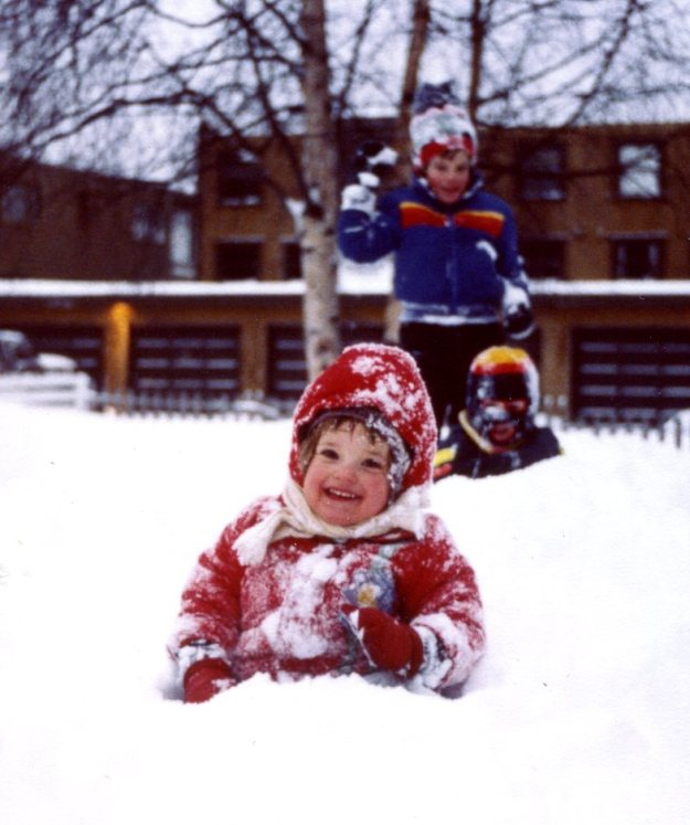 """Eating Snow,"" Mara Bryner, William Gilmore, and Paul Bryner, Anchorage, Alaska, 1979"