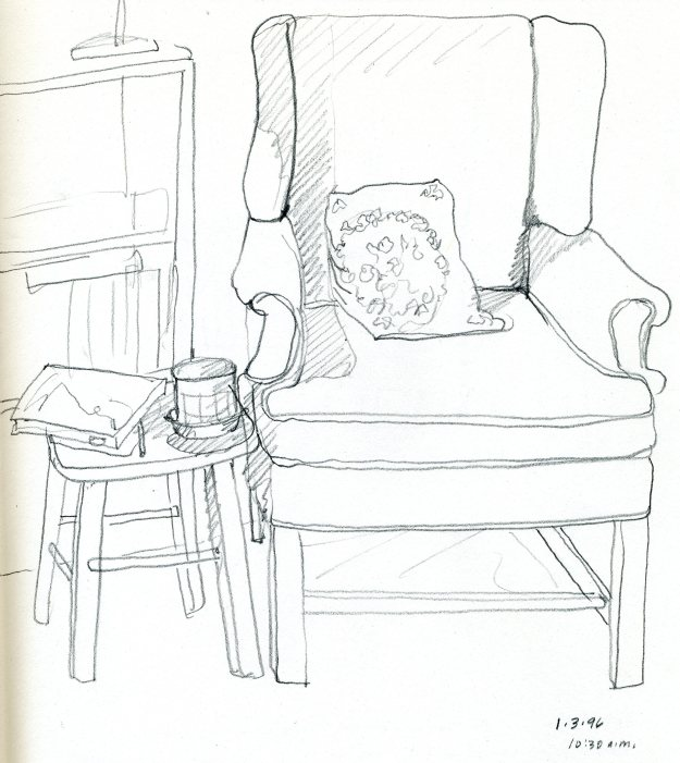 """My Favorite Chair,"" Carol Crump Bryner, pencil drawing, 1996"