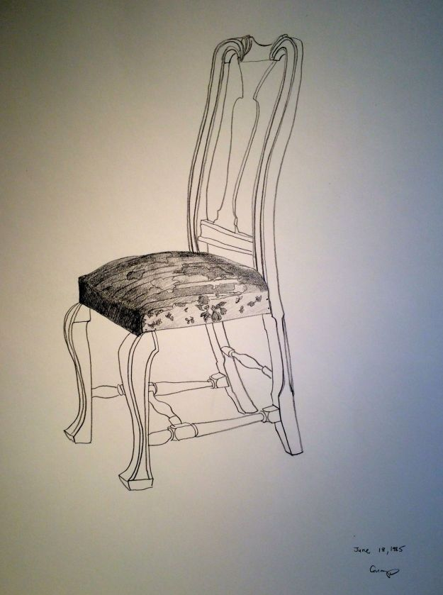 """The Queen Anne Chair,"" Carol Crump Bryner, pencil drawing, 1985"