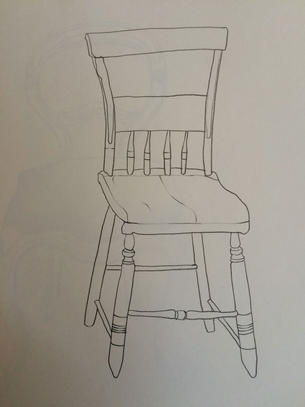"""The Little Wooden Chair,"" Carol Crump Bryner, pencil drawing, 1985"