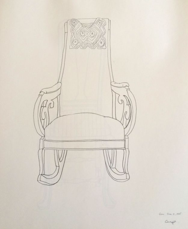 """The Upholstered Rocker,"" Carol Crump Bryner, pencil drawing, 1985"