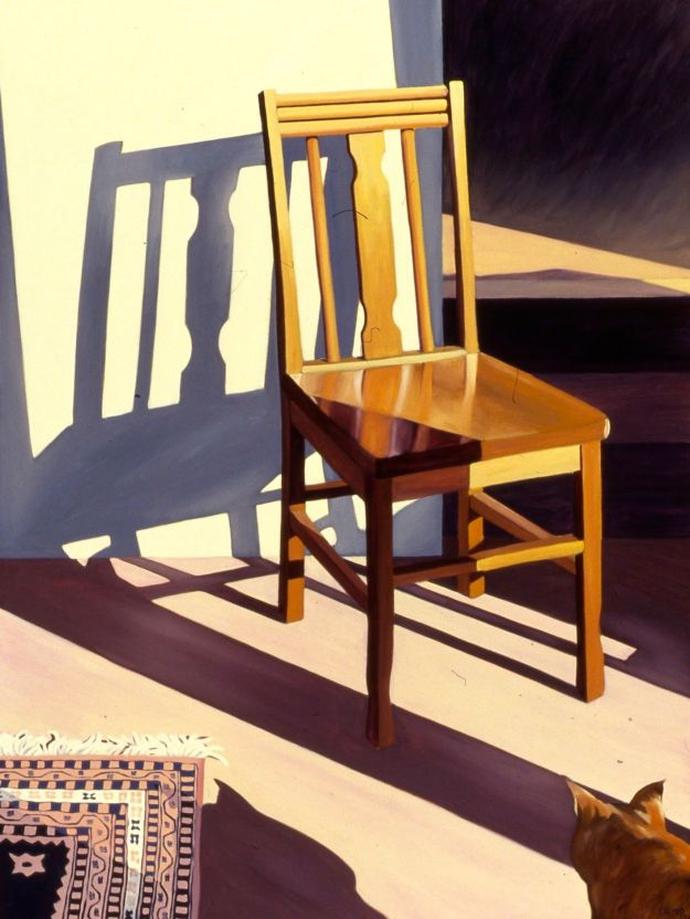 """Chair and Canvas #2,"" Carol Crump Bryner, oil on canvas, 40"" x 30"" 1993"