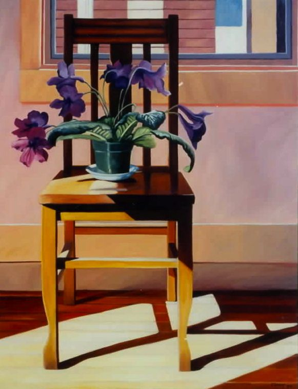 """Chair and Flowers in an Empty Room,"" Carol Crump Bryner, oil on canvas, 40"" x 32"" 1998"