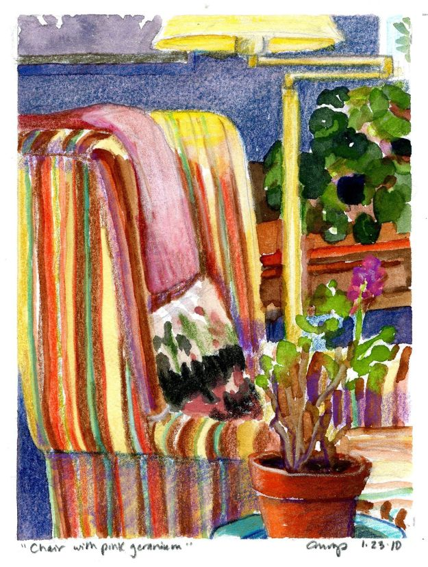 """Chair with Pink Geranium,"" Carol Crump Bryner, gouache and colored pencil. 2010"