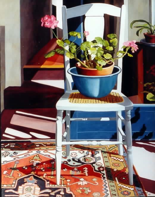 """Pink Geranium in a Blue Bowl,"" Carol Crump Bryner, oil on canvas, 38"" x 30"" 2005"