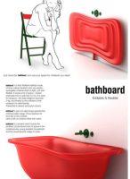 diverse immagini della vasca in gomma rossa che illustrano i diversi passggi, aperta e chiusa.