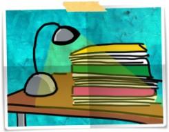 disegno: una pila di documenti e fascicoli illuminati da una lampada da tavolo