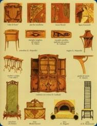 Una locandina con mobile, letto sedia, specchio, tavolinetti e motivi decorativi in stile art Nouveau.