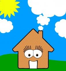 Immagine disegnata di una casa con occhi e con sorriso