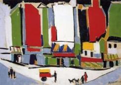 registrazione contratto d'affitto obbligatoria nell'immagine un quadro di Sante Monachesi, che raffigura un angolo cittadino con palazzi e persone