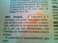 comodato d'uso di bene immobile o mobile Il testo dell'articolo 1803 del Codice Civile che definisce il Comodato