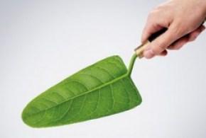 ristrutturazione ecologica esemplificata dalla mano che tiene una cazzuola a forma di foglia verde