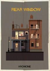 """Il poster di Federico Babina per il film """"La finestra sul cortile"""" di Alfred Hitchock - progetto Archicine"""