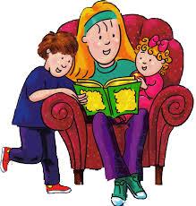 Il disegno di una baby sitter seduta in poltrona che, attorniata da due bambini, legge loro una storia