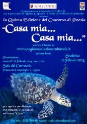 La locandina del concorso di poesia dedicato alla casa. Nell'immagine appare una tartaruga che nuota nel mare e il titolo del concorso ed altre informazioni