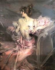 Madame Marthe de Florian, ritratta da Giovanni Boldini del 1898. La dama indossa un raffinato e attillato abito rosa dalla generosa scollatura e dalle maniche di pizzo pregiato