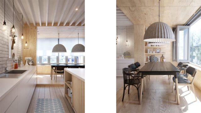 Zona pranzo e cucina - Appartamento Interior ID - Interior design scandinavo