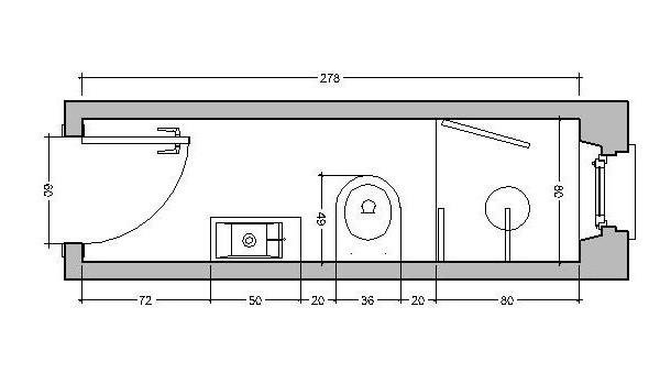 ristrutturare bagno da 80 cm: apertura porta verso l'interno