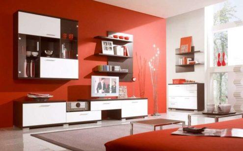 colori delle pareti arancio scuro per il soggiorno