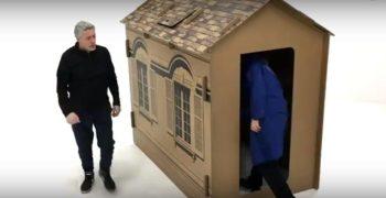 casa d'artista di cartone per i senza tetto