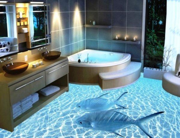 pavimento in porcellanato liquido 3D Imperial Interiors in bagno