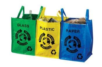 borse per raccolta differenziata: vetro, plastica, carta