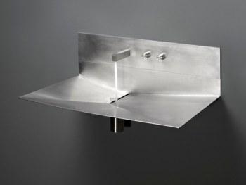 """Sanitari inmetallo per il bagno: Lavabo in acciaio """"Lavandino"""" di Antonio Lupi"""