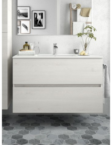 Mobile bagno sospeso con due cassetti e lavabo