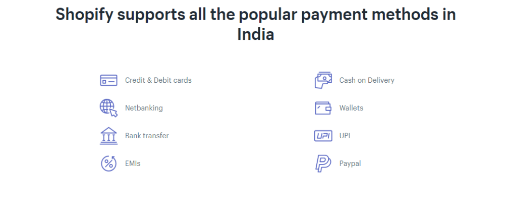 Cashfree provides 80+ netbanking , debit & credit card, Paytm, Paypal and international modes of payment on Shopify India store. Shopify login and under payments section you will see supported Shopify payment gateways that support these modes of payment.