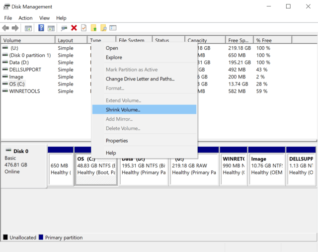how to change partitions in windows
