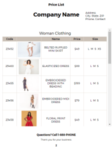 Clothing Price List