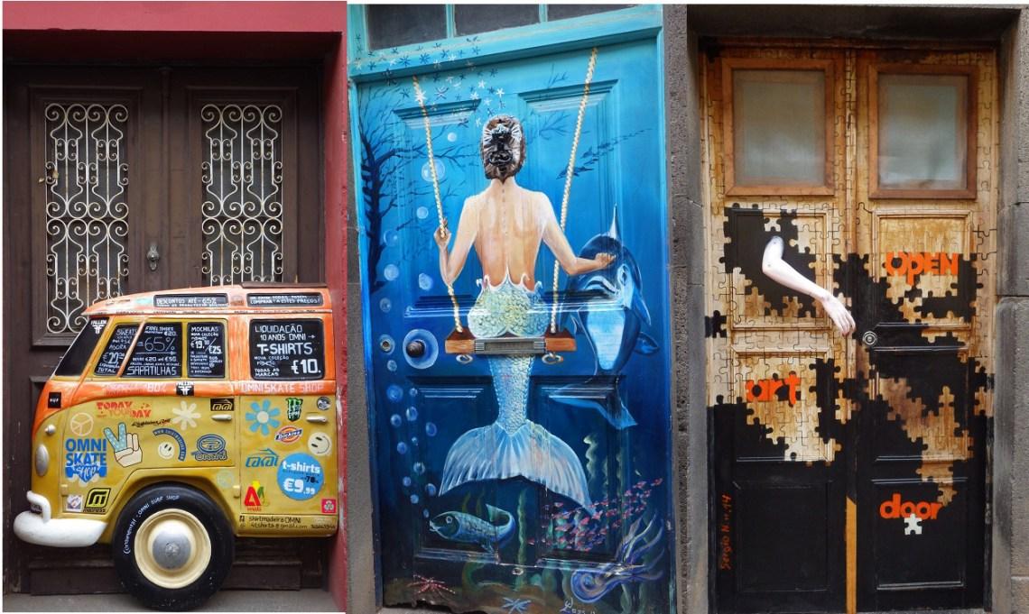 Belles portes décorées de la rue Santa Maria