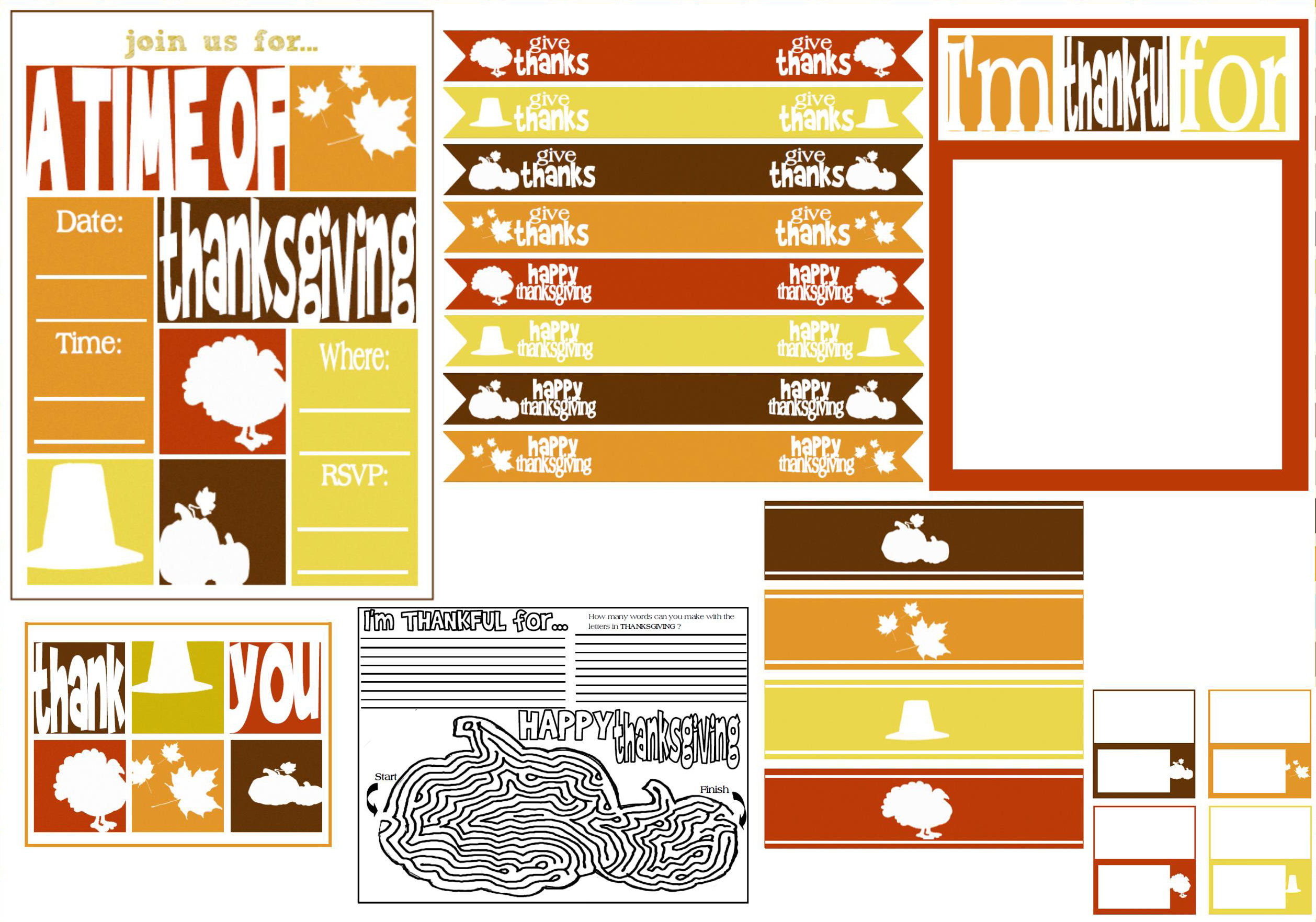 Free Thanksgiving Party Printables From Mimi S Dollhouse