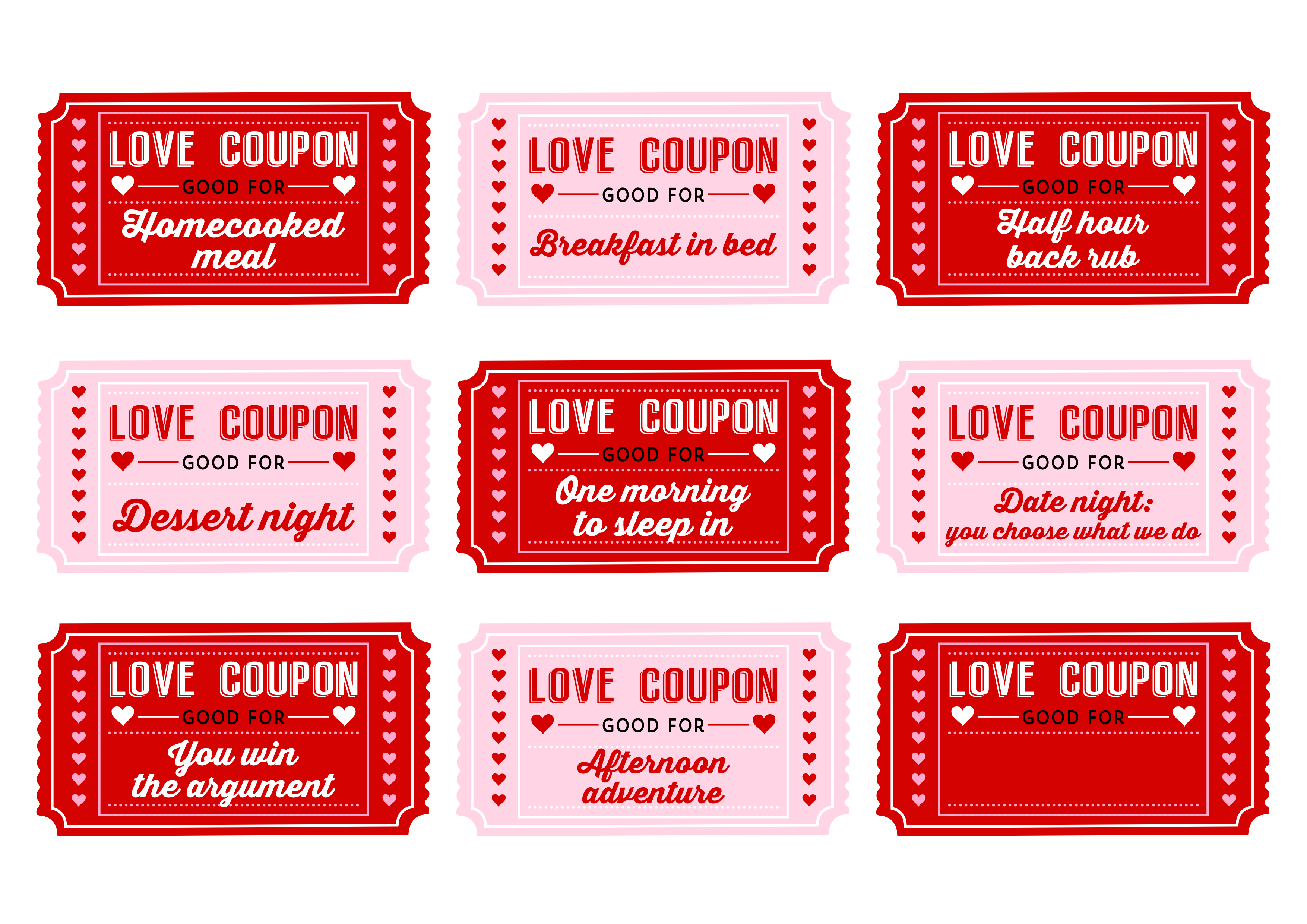Free Printable Love Coupons For Couples On Valentine S Day