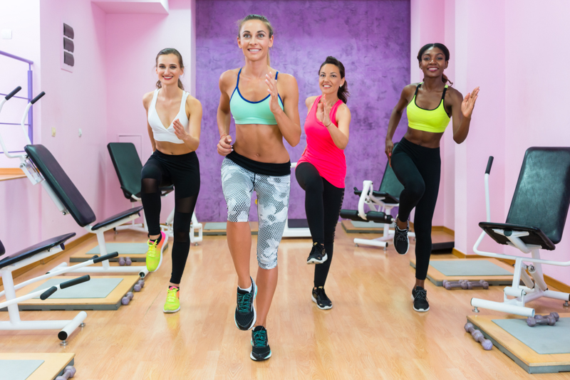 Four ladies working out together