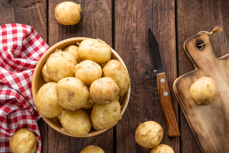 A basket full of potatoes