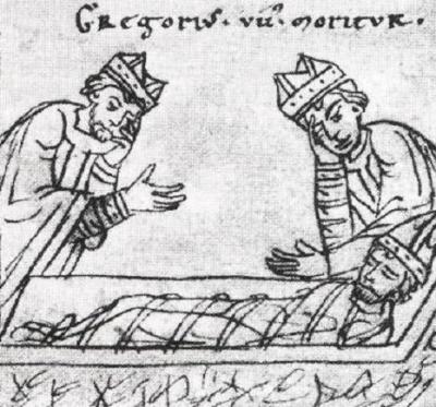 Mort de saint Grégoire VII en exil à Salerne.
