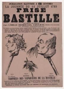 Publication illustrée à 5 centimes. La journée du 14 juillet 1789. Prise de la Bastille (documents historiques) ... Trophées des vainqueurs de la Bastille : tête de Launay, coeur de Berthier, tête de Foulon...