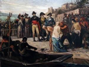 Les noyades de Nantes en 1793, peinture de Joseph Aubert, 1882.