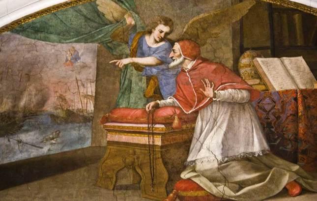 Le Pape Dominicain Pie V priant le Rosaire pendant la bataille de Lépante