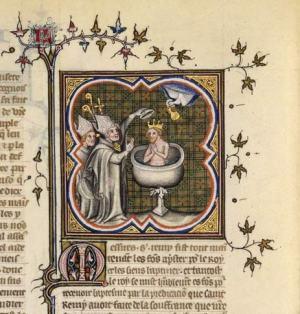 Baptême de Clovis, avec la colombe du Saint-Esprit