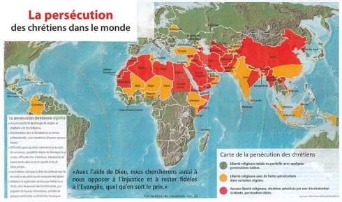 Carte des chretiens persécutés