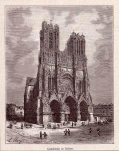 Cathédrale de Reims, gravure anciènne - 1882