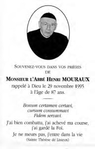 Abbé Henri Mouraux R.I.P.