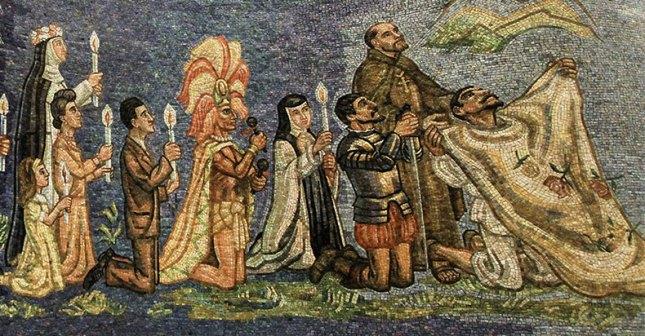 Juan Diego se présentant à l'évêque Zumárraga