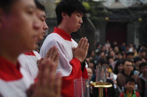 Célébration de Pâques dans la cathédrale « patriotique » de Pékin, mars 2018.